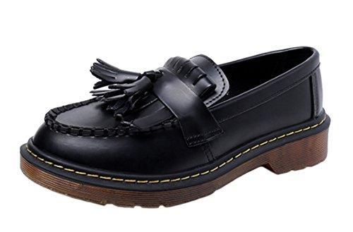 DADAWEN Women's Leather Look Tassel Fringe Flats Loafers-Black UK Size 7