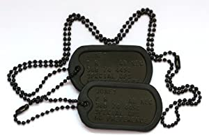 Special forces style black dog tags with chains and silencers, personalised with your information from Armydogtags.co.uk