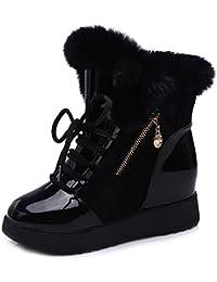 Minetom Mujer Otoño Invierno Calentar Mullido Botas Moda Charol Zapato De Plataforma Cordones Botas De Nieve