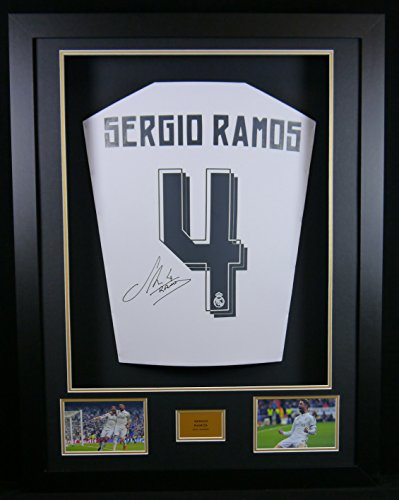 Sergio Ramos Real Madrid firmado camiseta 3d enmarcado pantalla con COA