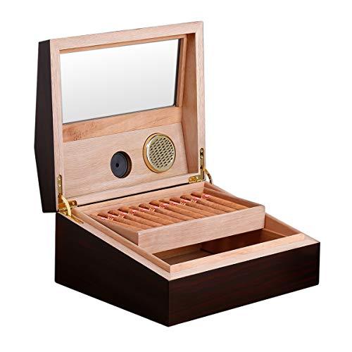 Introducción al producto:   ¿Te gusta fumar cigarros? ¿Quieres un humidor exquisito y de alta calidad? El humidificador de mano FLOUREON seguramente lo satisfará.  Está hecho de madera, equipado con un humidificador e higrómetro, capaz de controlar ...