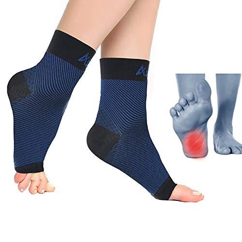 WHYIT Sprunggelenk Bandage Fersensporn Bandage Fußbandage, Schmerzlinderung bei Plantarfasziitis, Knöchelschmerzen und Schwellungen - Premium Kompressionssocken,Blue,L
