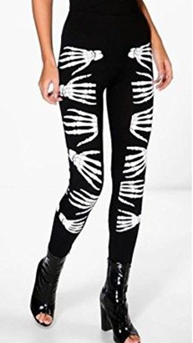VR7 Neu Damen Mädchen Halloween Skelett Knochen Leggings Body Bodycon Kostüm Plusgröße UK Größe 8-26 - Skeletthand/Finger Bedruckt Gothik Leggings, UK XXXL (24-26), (EUR 52-54) (Halloween-leggings Mädchen)