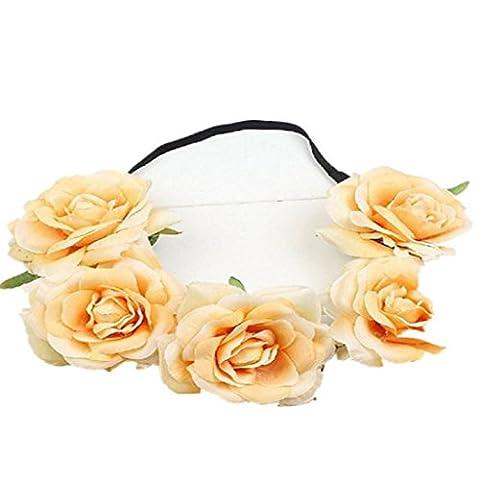 Xmansky Bohemien Rose Hochzeit Blumen Band Braut Kranz Blumen Sommer Blume Krone (E)