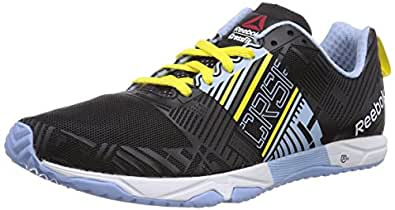 Reebok Women's R Crossfit Sprint 2.0 Black,Denim Glow,Stinger Yellow and White Mesh Training Shoes - 8.5 Uk