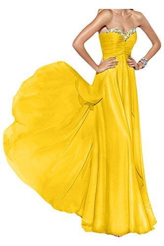 Gorgeous Bride Elegant Lang Traegerlos Empire Chiffon Abendkleid Festkleid Ballkleid Gelb