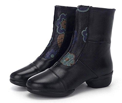 SHIXR Frauen Tanzschuhe Nationale Wind Leder Dance Schuhe Hohe Gruppe Tanzstiefel Sport Soft Bottom Jazz Schuhe Seitliche Reißverschluss Schwarz