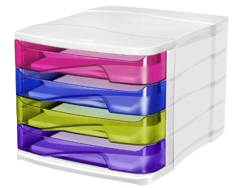 CEP 1003940811 Happy Schubladenbox 4 Schübe 394 HM, ultramarin/bambugrün/violett/indienrosa