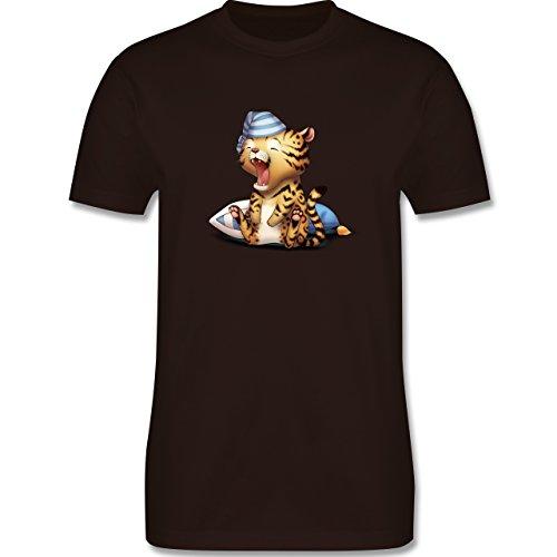 Wildnis - Gähnender Leopard - Herren Premium T-Shirt Braun