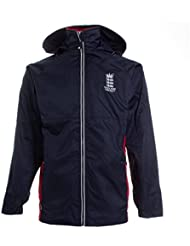 Inglaterra Cricket clásico cremallera completa chaqueta impermeable–azul marino/rojo–2x large