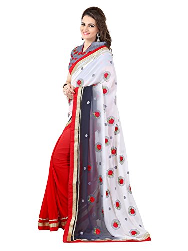 sarees(TreadIndia Women's White Color Embroidery Work Half-Half Georgette saree)