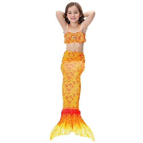 Le SSara Girls Cosplay Costume Swimwear Mermaid Shell Swimsuit 3pcs Bikini Sets