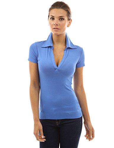 PattyBoutik Damen Polohemd mit V-Ausschnitt und kurzen Armen Blau