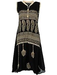 PRIYA Women's Cotton Kurta (PRIYA022--Large, Black, Large)
