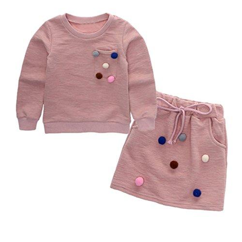 inder Kleidung Set, DoraMe Baby Mädchen Pom Pom Pullover Sweatshirt Tops + Rock Outfit (Rosa, 4 Jahr) (Mädchen Disney Kleidung)