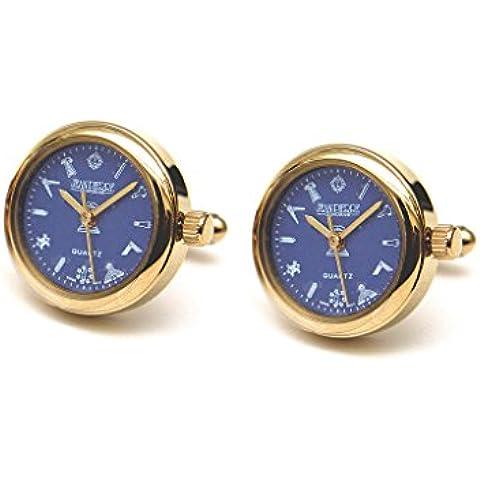 Orologio da uomo con quadrante blu placcato oro Massonico Gemelli G413, Velvet Pouch - Blu Placcato Gemelli