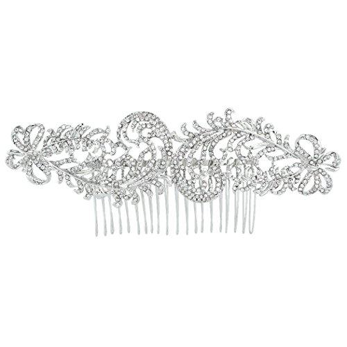 Flyonce österreichischen Kristall Hochzeit 1920er Jahre Stil Dual Peacock Feder Haar Kamm klar ()