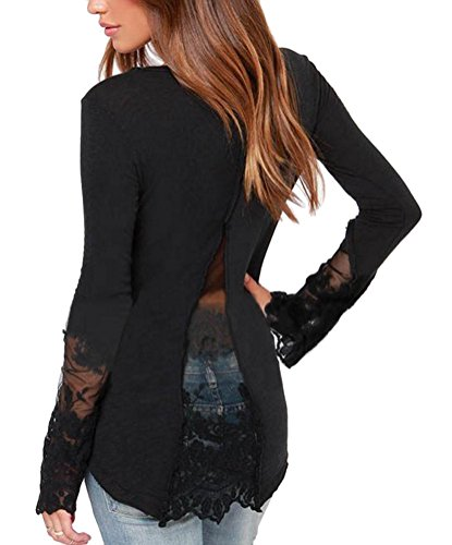 Ghope Damen Langarmshirt Halb offene Kragen Blütenspitze Stitching dünnes T-Shirt Schwarz