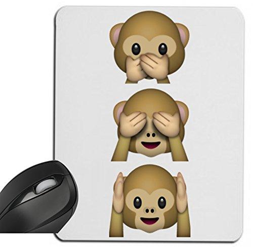 """Preisvergleich Produktbild Mauspad """"Nichts-Böses-Sehen-Sagen-Hören Affen"""" Drei Affen 3 Monkey aus Keramik, Smiley, Emoji, Deko, Kult, Kaffeetasse, Teetasse, IPhone, Emoticons."""