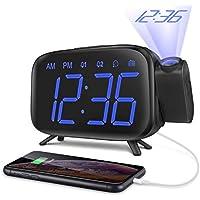 ELEHOT Réveil Projection Plafond Radio Reveil Projecteur 180° Horloge Numérique Gros Chiffres Fonction Snooze Radio FM 12/24H (Affichage Bleu)