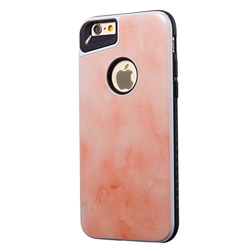 iphone 8 4.7 Custodia, iphone 7 Silicone Cover, Ekakashop Moda Lusso Marmo Modello Disegno PC & TPU 2-in-1 Epoxy Mestieri Morbido Rigida Cassa del telefono per iphone 8 3D Gel Silicone Gomma Cover, P 2-in-1--Arancione