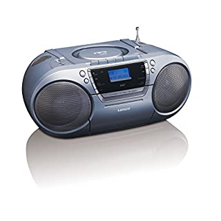 Lenco SCD-680 Silver | Portable Stereo DAB+ & FM Radio with CD, Cassette and USB Player – Grey Boombox