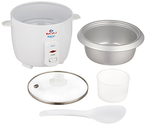 Bajaj Majesty RCX 1 Mini 0.4-Litre Multifunction Rice Cooker (White)