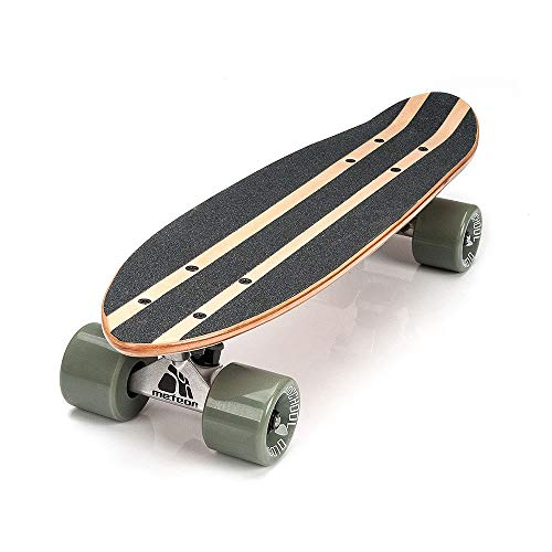 meteor Holz Skateboard Kinder - Mini Cruiser Kickboard - Skateboard mädchen Rollen Board - hohe Qualität OLD SCHOOL Skateboards Holz Deck - Retro Skateboard Jungen - Kinder ab 3 Jahre mini-board (SUMMER TRIANGLES)