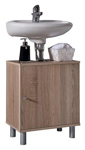 VCM Bad Unterschrank Waschtisch Waschbecken Badschrank Regal Wento 55x45x32 Badezimmer Schrank Eiche-Sägerau