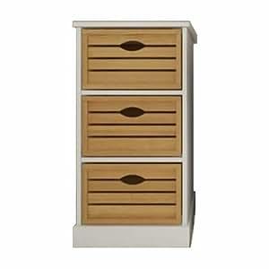meuble de rangement en pin massif avec 3 paniers tiroirs blanc naturel cuisine maison. Black Bedroom Furniture Sets. Home Design Ideas