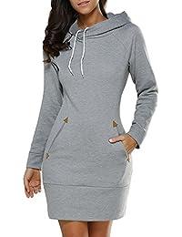 ad28c984484e DTWYCQ Donna Vestiti Invernali Corti Pullover Matita Abito Manica Lunga con  Cappuccio Felpe Camicia Vestito con