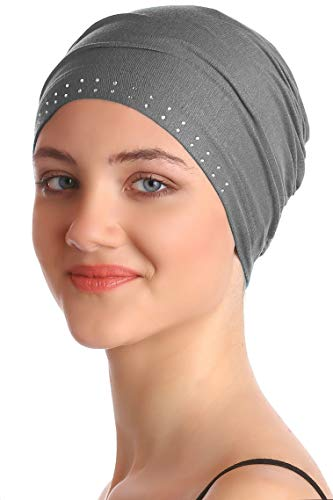 Deresina Headwear Jeweled Wesentliche Baumwollkappe (Dunkelgrau)