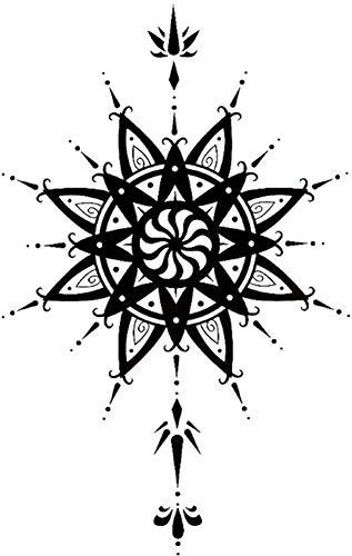 Tatuajes temporales de mandalas rosas para hombre y mujer, tatuaje temporal, 19 x 10 cm