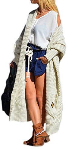Damen Strickjacke Pullover Cardigan Langarm Oversize 36 38 40 S M L (658) (Beige)