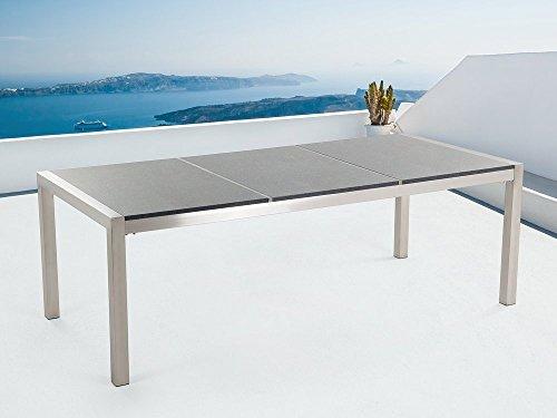 Beliani Gartentisch Edelstahl/Granit grau poliert 220 x 100 cm GROSSETO