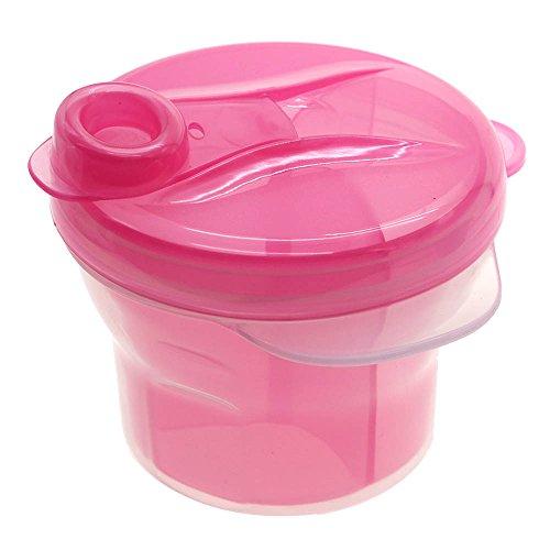 kompassswc Baby Leche en Polvo Dosificador 360° giratorio 3compartimentos Leche en Polvo Dispensador portátil bebé alimentos Caja de leche en polvo para 3Raciones rosa Rosa