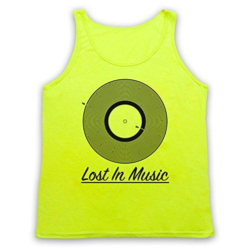 Lost In Music Vinyl Record Groove Maze Tank-Top Weste Neon Gelb