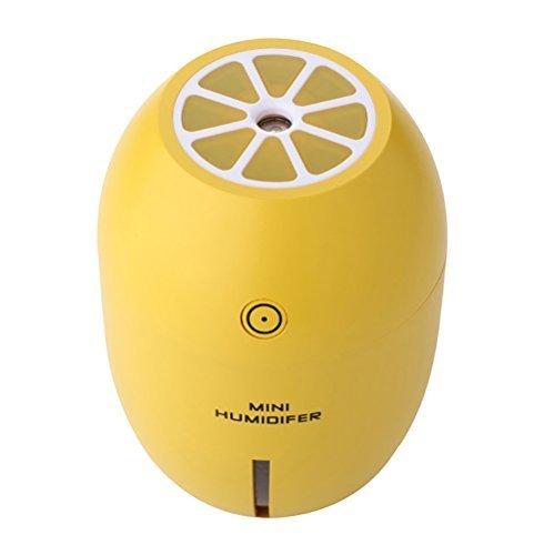 Linyena Zitrone Form Luftbefeuchter Obst USB Reinigung Luft Auto Aromatherapie mit 2Modi Einstellbar Nacht Ebenen von Licht (Gelb) (Zitrone Licht Nacht)