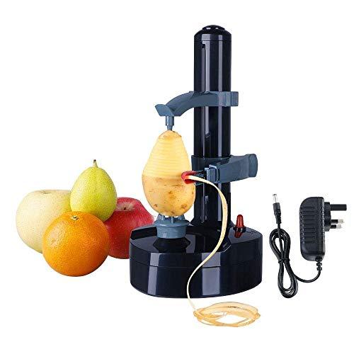 Koconh Éplucheur Automatique de légumes à Fruits électrique Automatique en Acier Inoxydable, Machine à éplucher l'orange de Pommes de Terre, Outil Rotatif de Cuisine Multifonction (Noir)