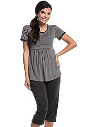 Zeta Ville - Umstands Lagen-Still-Pyjama kurze Ärmel Streifenmuster Damen - 689c