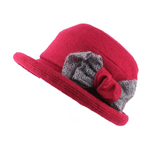 Les Femmes Tombent Et Le Tempérament D'hiver Haut De Gamme Sauvage Chapeau De Laine Chaude red