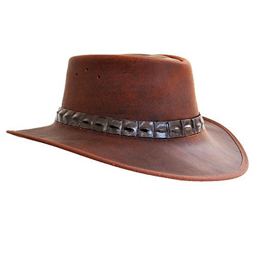 Band Lederhut Hut Herren - Cowboy Hut - Outdoor Hut Leder wasserdicht -Safari Hut - Lederhut - Safari/Outdoor/Südafrika/Outback - handgefertigt - Wachs ()