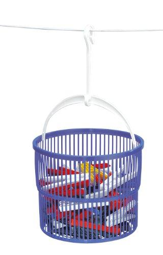 WENKO 3716010100 Wäscheklammer-Korb Set - inkl. 30 Wäscheklammern, Kunststoff - Polypropylen, 19 x 9 x 19 cm, Blau