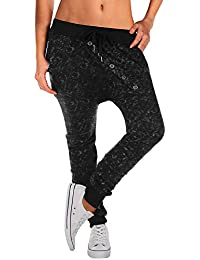 BAISHENGGT Damen Baggy Sweatpants Jogginghose Boyfriend Sports Hose All-Over Print Schwarz