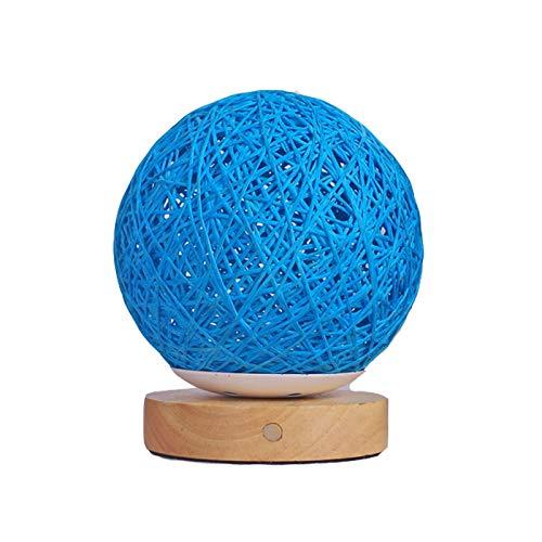 Nachttischlampe, aufladendes Modell führte Nachtlicht der Rattanballnote sieben, Rattanlampenschirm, Augenschutzschreibtischlampe, kreativer Schlafzimmerschlafsaal, Studio, Café.-blue-insert Light Blue Dessert
