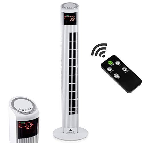 AERSON Turmventilator 90cm Weiß | Säulenventilator | Towerventilator | Standventilator | Oszillationsfunktion | Timerfunktion | Fernbedienung | 59,9 dB(A) max.