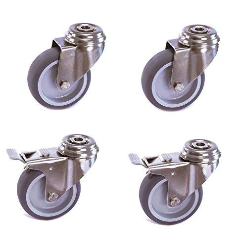 Satz Edelstahlrolle 75 mm Gummi grau spurlos Rückenloch mit ohne Bremse V2A INOX Transportrolle Apparaterolle aus Edelstahl