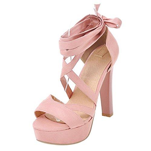3380efee1f5568 COOLCEPT Damen Mode Schnurung Sandalen Peep Toe Plateau Blockabsatz Schuhe  Rosa