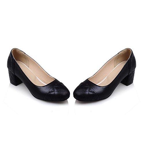 AllhqFashion Femme à Talon Correct Couleur Unie Tire Carré Chaussures Légeres Noir
