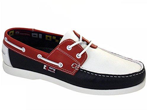 Beppi Portugiesisch Herren Leder Bootsschuhe Rot Weiß Blau EU 41